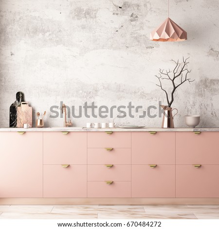 Mockup interior kitchen in pastel colors. 3D render, 3d illustration