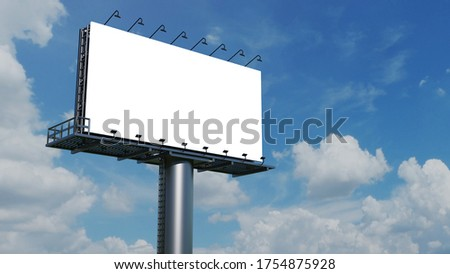 Mockup Large billboard or poster displayed on the outdoor against the blue sky background. 3D rendering. Cilpping path.