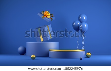 Mockup Minimal Celebrate Blue Podium With Golden Top And Gift Box Abstract Background 3d Render
