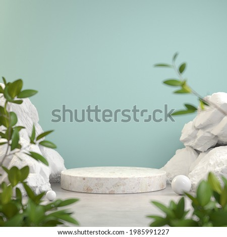 Mockup Minimalist Podium Display, Rock Stone Nature, Tropic Plant Blur Foreground, Abstract Background 3d Render Stock photo ©