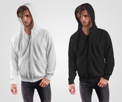 Mockup of a white, black hoodie with a zipper, with ties, a pocket on a guy in a hood, front view. Sweatshirt template with cuffs, isolated on background. Set of clothes, for presentation of design