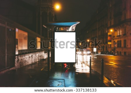 Mockup of blank light box on the bus stop