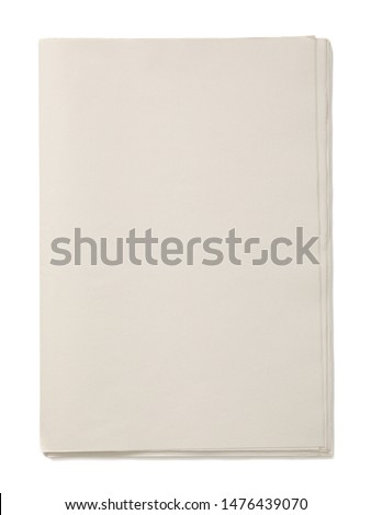 Mockup of Business Newspaper blank with empty space for news text isolated on white background
