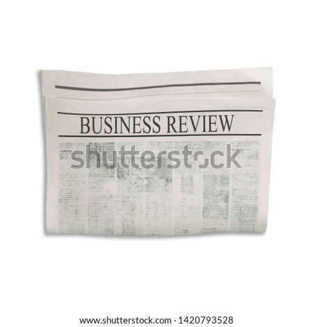 Mockup of Business Review newspaper blank with unreadable text and images. Isolated on white background. News paper with headline. Vintage old gray beige sepia grunge texture. #1420793528