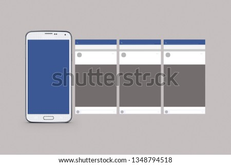 Mockup of cellphone isolated blue and white