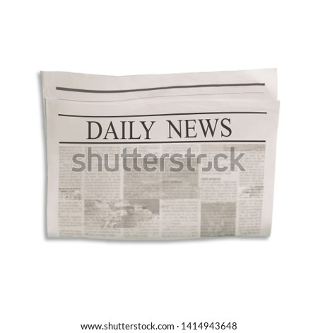Mockup of Daily News newspaper blank with unreadable text and images. Isolated on white background. News paper with headline. Vintage old gray beige sepia grunge texture. #1414943648