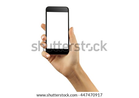 Mockup of hand with a black cellphone with white screen at isolated background. #447470917