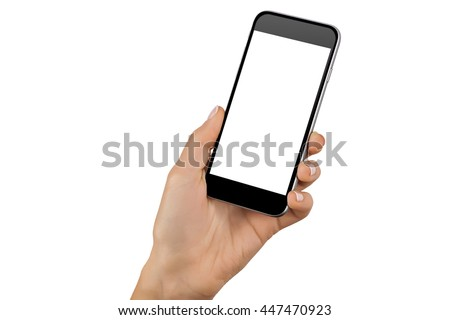Mockup of hand with a black cellphone with white screen at isolated background. #447470923