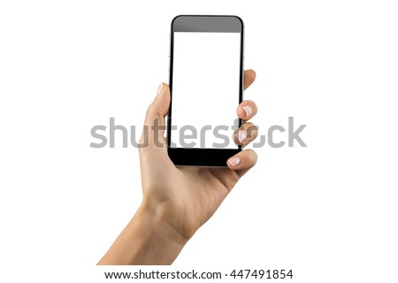Mockup of hand with a black cellphone with white screen at isolated background. #447491854