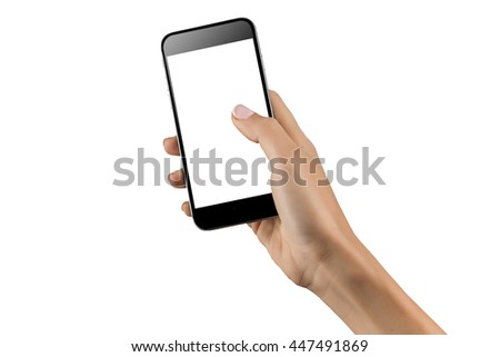 Mockup of hand with a black cellphone with white screen at isolated background. #447491869