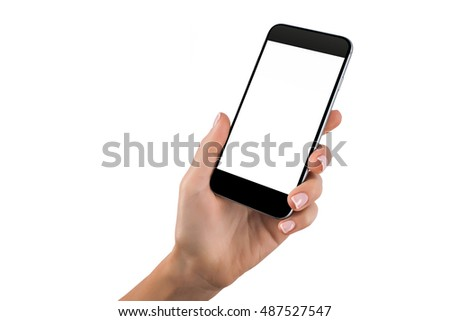 Mockup of hand with a black cellphone with white screen at isolated background. #487527547