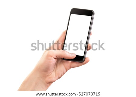 Mockup of male hand holding black cellphone isolated at white background. #527073715