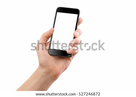 Mockup of male hand holding black cellphone isolated at white background. #527246872