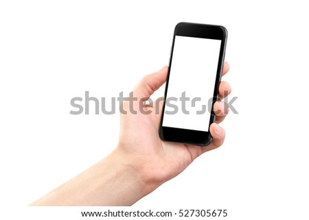 Mockup of male hand holding black cellphone isolated at white background. #527305675