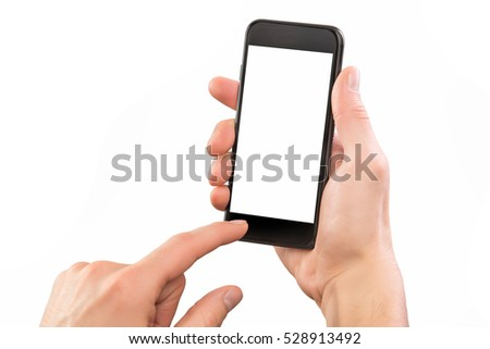Mockup of male hand holding black cellphone isolated at white background. #528913492