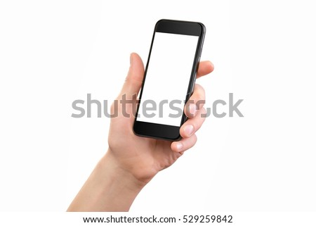 Mockup of male hand holding black cellphone isolated at white background. #529259842