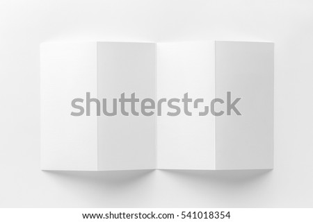 Mockup of opened four fold brochure isolated at white background #541018354