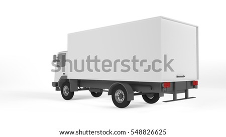 Mockup of truck on white background. Mockup of lorry on white background.