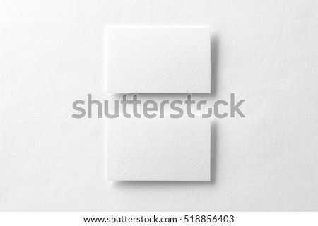 Mockup of two horizontal business cards at white textured background. #518856403