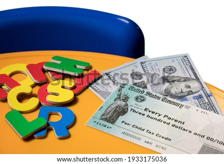Mockup of US Treasury illustrative check for child tax credit for a single dependent to illustrate American Rescue Plan Act of 2021 payments Сток-фото ©