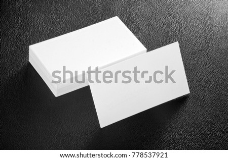 Mockup of white business cards at eather background. Template for branding identity #778537921