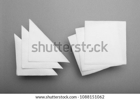 Mockup paper napkin for bar, restaurant. Top view.