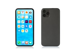Mockup photo of isolated mobile phone showing home screen and back side.