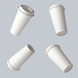 Mockup plastic cup for coffee flying on a light gray background. Four angles. Levitation