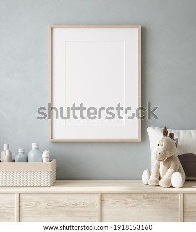 Mockup poster frame close up in nursery, 3d render Stock photo ©