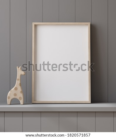 Mockup poster frame close up on shelf with toy, 3d render Stock photo ©