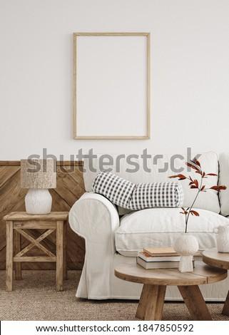 Mockup poster frame in farmhouse living room interior, 3d render