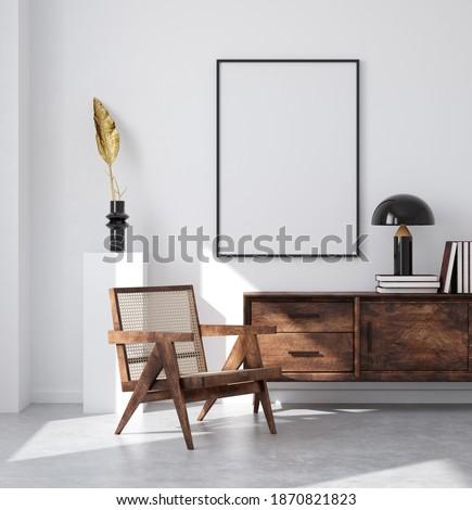 Mockup poster frame in minimalist modern interior background, 3d render