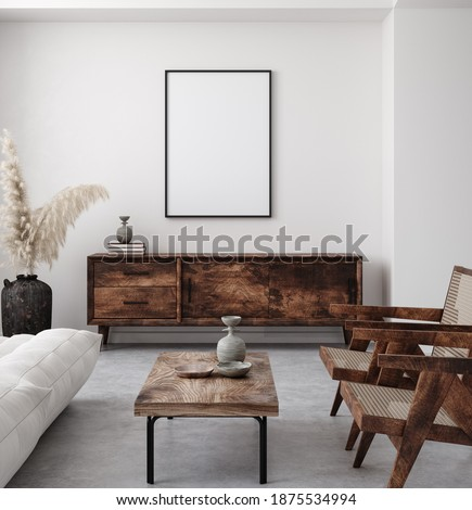 Mockup poster frame in minimalist modern interior background, 3d render