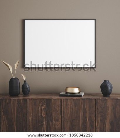 Mockup poster frame in modern interior background, 3d render