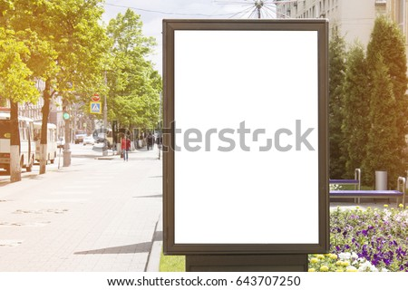 Mockup poster in the city. Advertising and announcement. #643707250