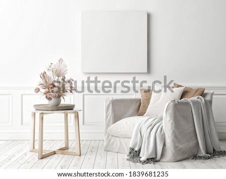 Mockup poster square frame on the wall in living room interior with armchair, 3d render, 3d illustration Сток-фото ©