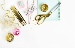 Mockup product view table gold accessories. stationery supplies. glamour style. Gold stapler. polka gold. Header website or Hero website. Flat lay