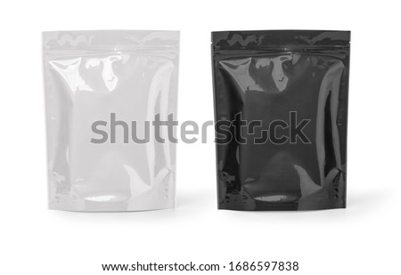 Photo of  Mockup Stand Up Blank Bag black and white For Coffee, Candy, Nuts, Spices, Self-Seal Zip Lock Foil Or Paper Food Pouch Snack Sachet Resealable PackagingWith clipping path