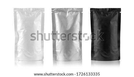 Mockup Stand Up Blank Bag black , gray and white For Coffee, Candy, Nuts, Spices, Self-Seal Zip Lock Foil Or Paper Food Pouch Snack Sachet Resealable PackagingWith clipping path