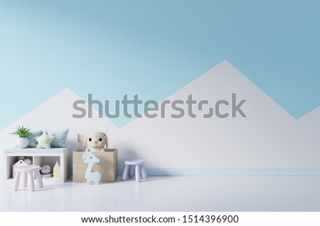 Mockup wall in the children's room on wall pastel colors background.3D Rendering