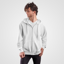 Mockup white hoodie with drawstring hood, pockets and zippers on guy, front view, blank sweatshirt for design presentation. Men's clothing template isolated on background. Casual Sportswear