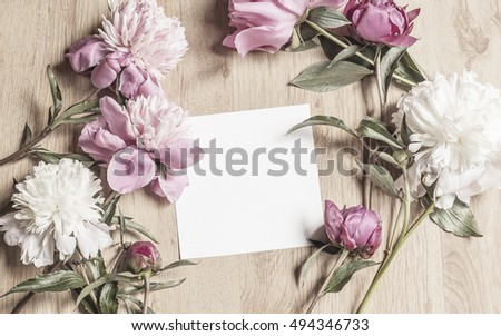 Mockup With Card And Flowers #494346733