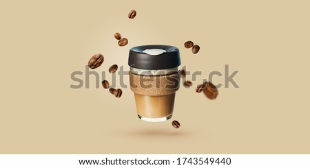 Mockup with flying reusable takeaway coffee cup with coffee beans. Reusable coffee cups. Zero waste. Template for coffee menu.