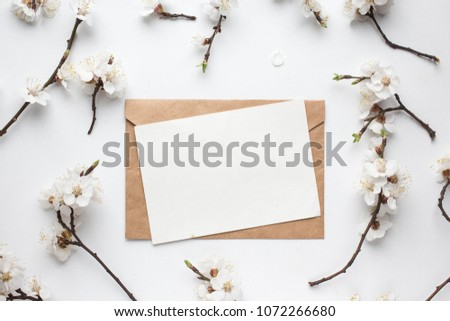 Mockup with postcard and cherry flowers on white background. card and apricot blossom. ink pen, ink and ribbon