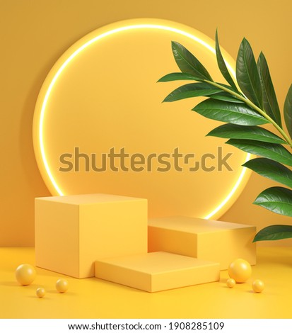 Mockup Yellow Step Podium Set With Electric Light Glow And Plant Abstract Background 3d Render
