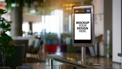 Mockup Your Design Here. Face recognition scanner or temperature machine before enter and exit Disease Coronavirus (COVID-19). Security Technology And information on finding people. Concept New Normal
