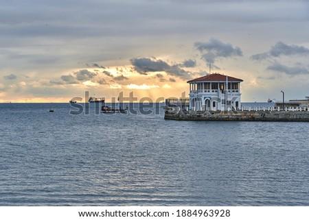 Moda Iskelesi (Moda Pier) at sunset with beautiful clouds, Istanbul, Turkey               Foto d'archivio ©