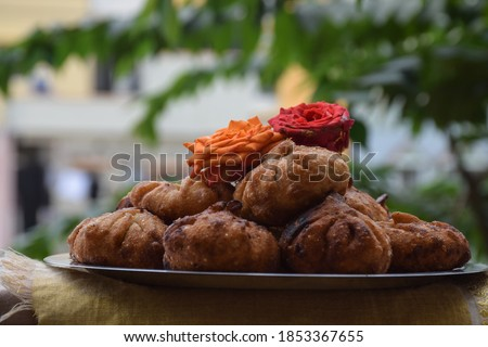 Modak or sweet fried mo-mos ,it is a traditional and popular Indian sweet dish made during the Ganpati festival in India Stock fotó ©