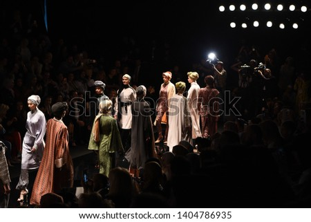 Modanisa Modest Fashion Week/20 April 2019, Istanbul, Turkey:  HALIMA runway and atmosphere during Modest Fashion Week at Zorlu Center. #1404786935