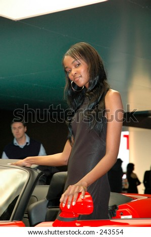 Model at a motor show